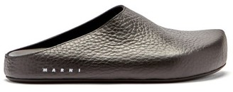 Marni Grained-leather Slipper Shoes - Black
