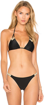 Vix Paula Hermanny Solid Ibiza Jute Tri Top in Black. - size S (also in )
