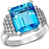 Bloomingdale's Blue Topaz & Diamond Row Statement Ring in 14K White Gold - 100% Exclusive