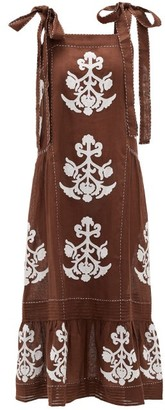 Vita Kin - Daisy Floral-applique Linen Dress - Brown White