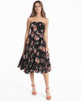White House Black Market Strapless Floral Printed Midi Fit-and-Flare Dress