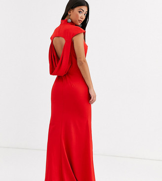 Jarlo Petite maxi dress with cowl back and fishtail skirt in red