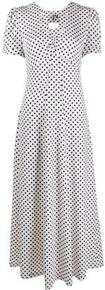ALEXACHUNG Polka-Dot Flared Midi Dress