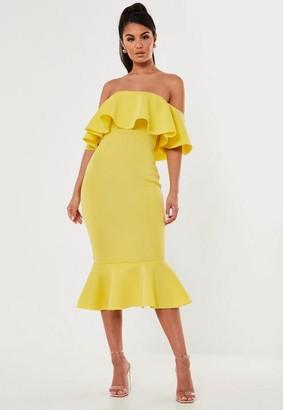 Missguided Yellow Bardot Ruffle Scuba Midi Dress