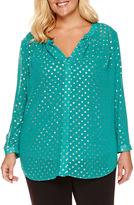 Liz Claiborne Long-Sleeve Button-Front Metallic Dot Blouse - Plus