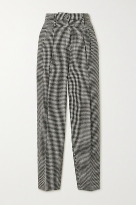 REMAIN Birger Christensen Marionette Pleated Houndstooth Wool-blend Tapered Pants - Gray