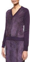 Carolina Herrera Cashmere Knit Sweater w/Suede Front