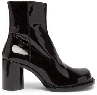 Maison Margiela Exaggerated Toe Patent Leather Boots - Womens - Black