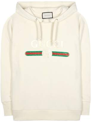 Gucci Appliqued cotton hoodie