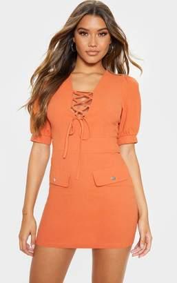 PrettyLittleThing Khaki Lace Up Pocket Front Utility Dress