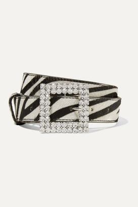 Black & Brown Crystal-embellished Zebra-print Calf Hair Belt - Zebra print