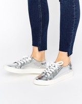 Faith Silver Metallic Lace Up Sneakers