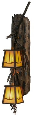 2-Light Pine Branch Valley View Vertical Wall Sconce Meyda Tiffany