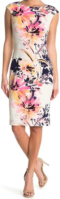 London Times Cap Sleeve Floral Print Sheath Dress
