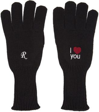 Raf Simons Black I Love You Gloves