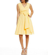 Calvin Klein Ruffled-Neck Cotton Fit-and-Flare Dress