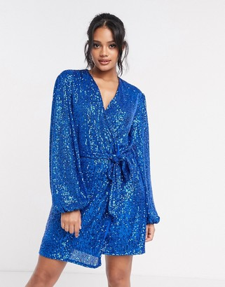 Style Cheat sequin tie-waist mini dress in blue