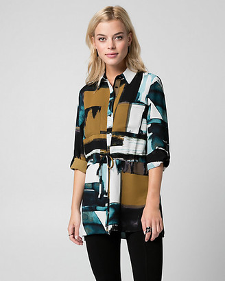 Le Château Abstract Print Crepe de Chine Tunic Blouse
