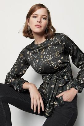 Karen Millen Camo Print Tie Front Blouse