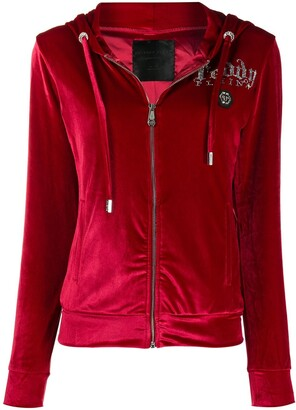 Philipp Plein Crystal-Embellished Velour Track Jacket