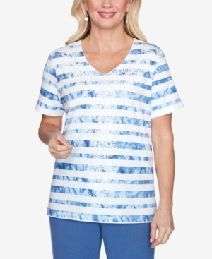 Alfred Dunner Petite Palo Alto Embellished Tie-Dyed Striped Knit Top