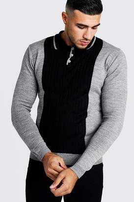 boohoo Regular Long Sleeve Knitted Cable Panel Polo