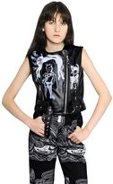 Sleeveless Leather Moto Vest