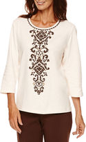 Alfred Dunner Sante Fe 3/4-Sleeve Scroll Center Tee - Petite