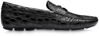 Prada Crocodile-Effect Penny-Slot Loafers