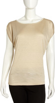 Lafayette 148 New York Metallic Jersey Batwing Top, Pale Gold