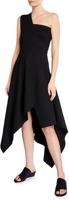 Rosetta Getty One-Shoulder Jersey Paneled Handkerchief Dress