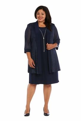R & M Richards R&M Richards Womens Navy Metallic 3/4 Sleeve Jewel Neck Knee Length Shift Wear to Work Dress Plus US Size: 14W