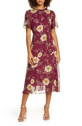 Chelsea28 Floral & Metallic Stripe Flutter Sleeve Midi Dress