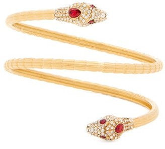 Gucci Wraparound Crystal-embellished Snake Cuff - Womens - Red Gold