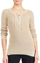 Lauren Ralph Lauren Petite Lace-Up Cotton-Blend Sweater