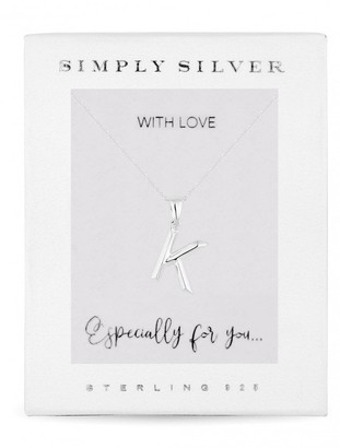 Simply Silver Sterling Silver 925 Polished Alphabet K Pendant