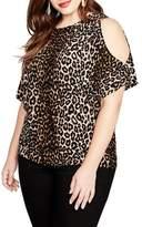 Rachel Roy Leopard Print Cold Shoulder Top
