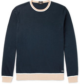 HUGO BOSS Marcelli Slim-fit Contrast-trimmed Cotton Sweater - Navy