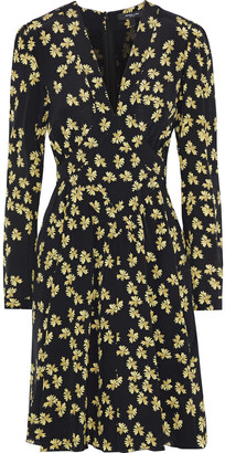 Derek Lam Wrap-effect Floral-print Silk Crepe De Chine Dress