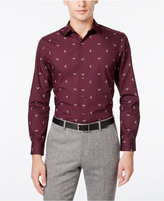 Bar III Men's Slim-Fit Wine Reindeer Print Dress Shirt, Only at Macy's