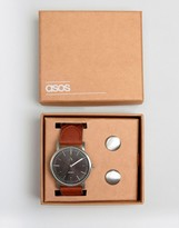 Asos Watch And Cufflink Set In Silver