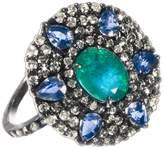 Meira T Women's Emerald Tanzanite Silver & Diamond Ring