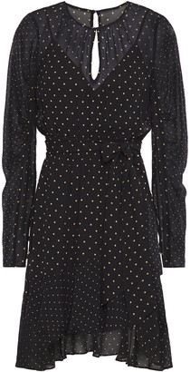Bailey 44 Candace Asymmetric Polka-dot Chiffon Mini Dress