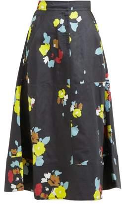 Lee Mathews - Dolores Floral Print Skirt - Womens - Navy Multi