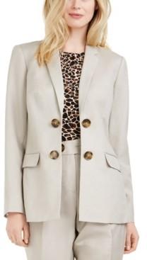 Calvin Klein Petite Linen Double-Breasted Blazer