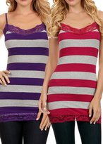 Simlu Womens Lace Trim Bold Striped Long Cami Tank Top with Adjustable Straps
