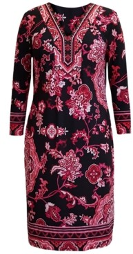 JM Collection Plus Size Printed Nadia Y-Neck Dress, Created for Macy's