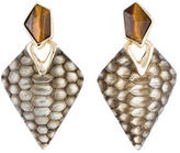 Alexis Bittar Lucite & Tiger's Eye Clip On Earrings