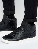 Asos High Top Sneakers in Black With Perforated Tongue