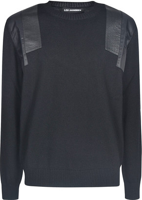 Les Hommes Shoulder Detail Round Neck Sweater